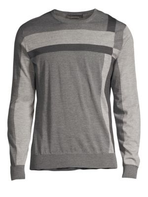 Colorblock Merino Wool Crewneck Sweater