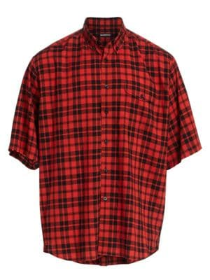 Checkered Short-Sleeve Pocket Shirt