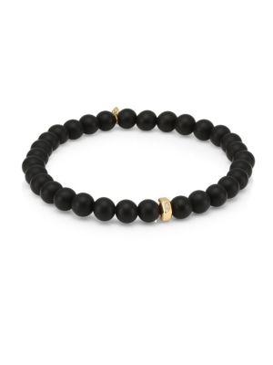 14K Yellow Gold, Diamond & Onyx Hexagon Rondelle Beaded Bracelet