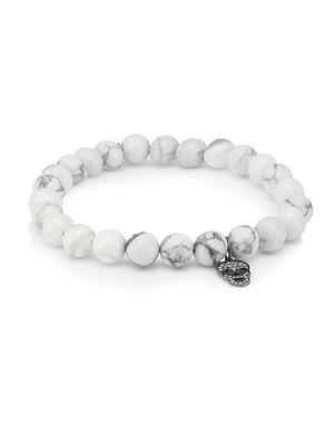 Mini 14K White Gold, Pavé Diamond & Howlite Skull Beaded Bracelet