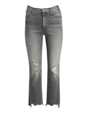Hustler High-Rise Step Chewed Hem Cropped Jeans
