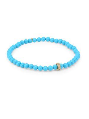 14K Yellow Gold, Diamond & Turquoise Bead Bracelet