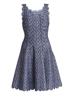 Camee Woven Scalloped-Trim A-Line Dress