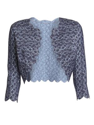 ALAÏA Camee Scallop-Trimmed Short-Sleeve Dress in Nightblue