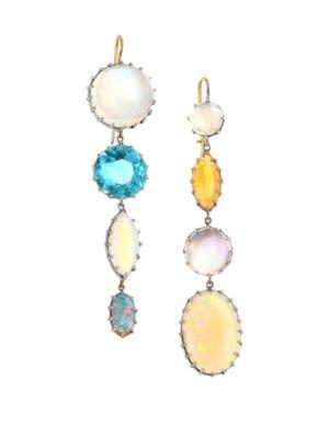 18K White Gold, Moonstone, Zircoin Black Opal & Fire Opal Drop Earrings