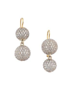 18K Yellow Gold & Pavé Diamond Sphere Drop Earrings