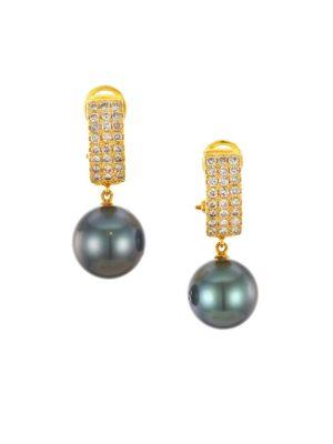 RENEE LEWIS 18K Yellow Gold, Black Pearl & Diamond Earrings