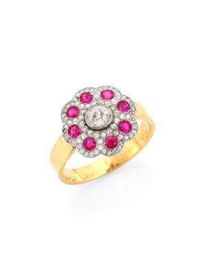 RENEE LEWIS 18K Yellow Gold, Diamond & Ruby Ring