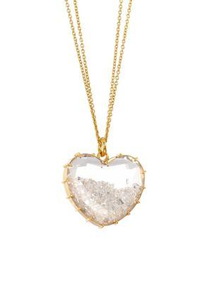 RENEE LEWIS 18K Yellow Gold & White Diamond Heart Shake Necklace