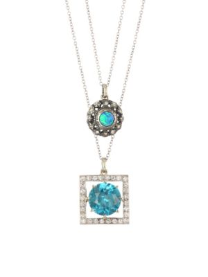 RENEE LEWIS 18K Yellow Gold, Rose Cut Diamond & Black Opal Two-Chain Necklace