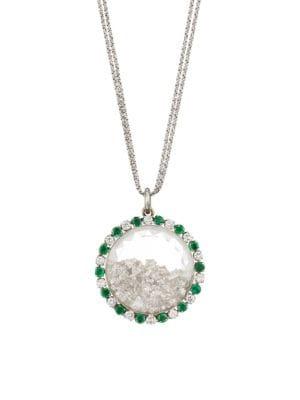 RENEE LEWIS 18K White Gold, Emerald & Diamond Shake Pendant Necklace