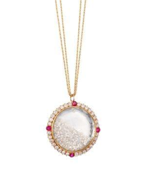 RENEE LEWIS 18K Gold, Diamond & Ruby Shake Pendant Necklace