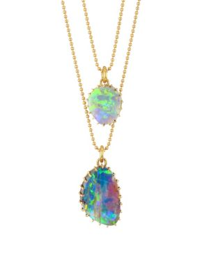 RENEE LEWIS 18K Yellow Gold & Black Opal In The Brute Two-Chain Necklace
