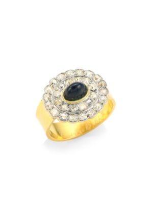 RENEE LEWIS Diamond & Sugarloaf Sapphire 18K Gold Ring