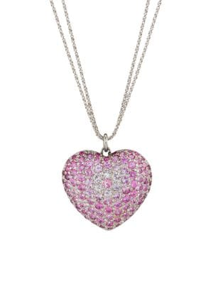 RENEE LEWIS 18K White Gold & Pink Sapphire Heart Pendant Necklace