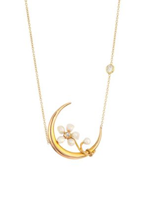 RENEE LEWIS 18K Gold Diamond & Pearl Crescent Moon Necklace