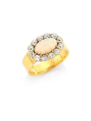 RENEE LEWIS Antique Diamond & Hungarian Opal 18K Gold Ring