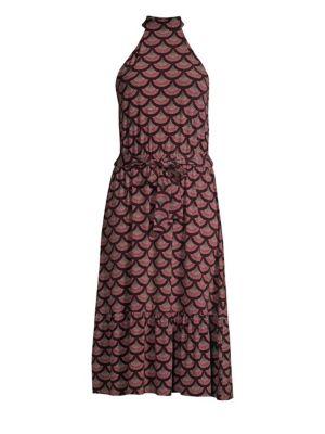 Chandelier Scallop-Print Halter Dress