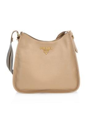 Large Daino Leather Hobo Bag