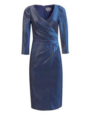 Stretch Lamé V-Neck Dress