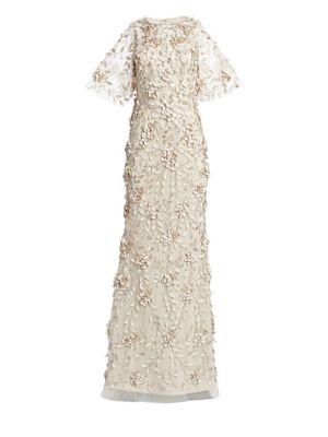 Embellished Flutter-Sleeve Tulle Gown