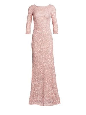 Boatneck Sequin Tulle Gown