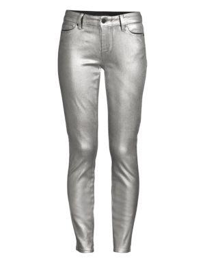 Verdugo Mid-Rise Metallic Skinny Jeans