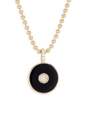 Pyramide 18K Yellow Gold, Diamond & Onyx Disc Pendant Necklace