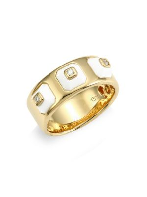 Pyramide 18K Yellow Gold, Diamond & White Agate Narrow Ring
