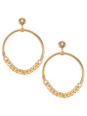 GAS BIJOUX | Sorane 24K Goldplated & 5MM Freshwater Pearl Chain Hoop Earrings | Goxip