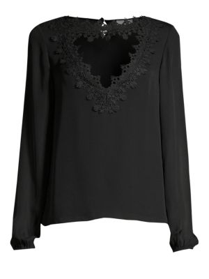 CAMI NYC | Tali Lace Cutout Silk Blouse | Goxip