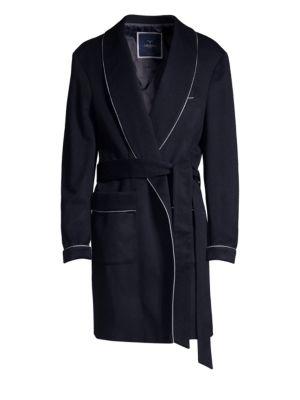 LARUSMIANI Deconstructed Virgin Wool & Cashmere Coat in Navy