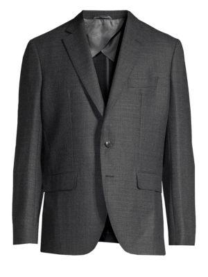 LARUSMIANI Single-Breasted Wool-Blend Blazer in Grey