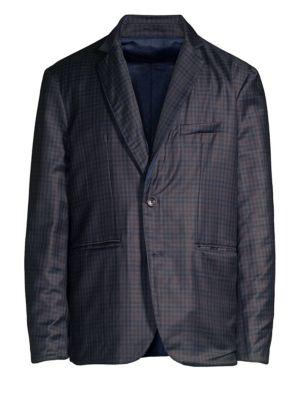 LARUSMIANI Reversible Virgin Wool Padded Jacket in Blue Check