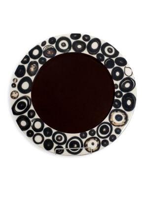 Bull Horn & Wood Ring Veneer Charger Plate