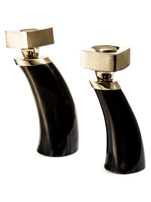 Two-Piece Dark Horn Candle Holders
