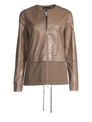Albany Lacquered Leather Jacket W/ Cotton Combo in Fawn