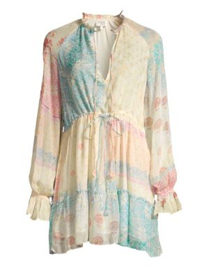 HEMANT & NANDITA Watercolor Print A-Line Peasant Dress in Pastel