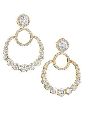 Pirouette 18K Yellow Gold & Diamond Door Knocker Hoop Earrings