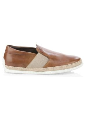 Leather Espadrille Slip-On Shoes