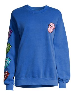 Rolling Stones Sequin Tongues Crewneck Sweatshirt
