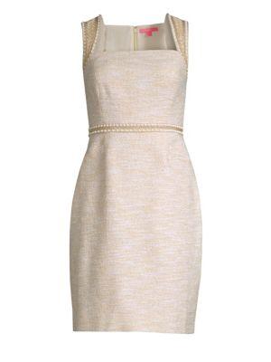 Dana Embellished Metallic Sheath Dress