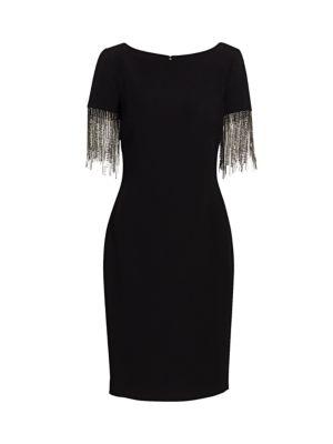 Crystal Fringe-Sleeve Sheath Dress