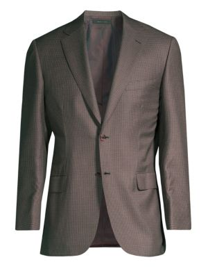 Virgin Wool & Silk Check Jacket