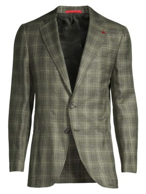 Summertime Plaid Wool, Silk & Linen Single-Breasted Jacket