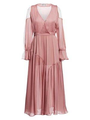 EACH X OTHER | Poet Sleeve Colorblock Maxi Dress | Goxip