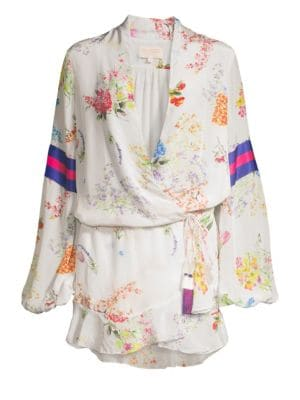 ROCOCO SAND Ayaka Short Floral Wrap Dress in Off White
