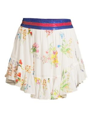 ROCOCO SAND Sequin Band Floral Ruffle Skirt in Off White