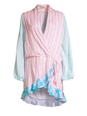 ROCOCO SAND Plaid Short Wrap Dress in Pink