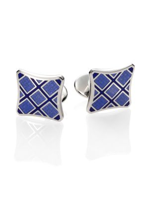 Plaid Sterling Silver Cuff Links